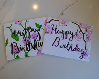 Floral 'Happy Birthday' Cards - Set of 2
