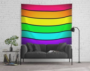 Wall Tapestry, Rainbow Wall Tapestry, Wall Hanging, Striped Wall Decoration, Lightweight , Rainbow Wall Hanging, Colorful Wall Tapestry
