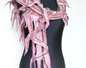 Felt scarf mesh Felt necklace Wool jewelry Felt products Cobweb scarf Gift her Bohemian decoration Gray scarf Pink felt scarf wool Merino