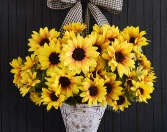 Sunflower Door Hanger for Front Door