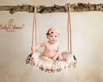 Digital Background - Digital Backdrop - Digital Prop - Newborn - Baby - Sitter - Photography Prop - Woodland Swing with Plain Backdrop