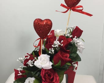 Silk Floral Arrangement in Red Velvet High Heel Shoe with Red  & White Roses