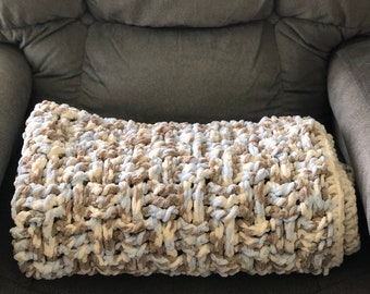 Chunky Crochet Baby Boy Blanket in Blue, Brown, and Cream Chenille Yarn