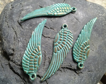 Handpainted Verdigris Patina metal Angel Wing Charms (Double Sided) (18011) - 30x9.5mm