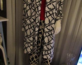 1980's Ladies Black and White Bow Tie Print Pantsuit by YVES Saint LAURENT