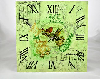 Wall clock birds and butterflies / Wall clock picture Decor / Vintage decor /Decoupage wall clock/ Shabby Chic wall clock/ FREE SHIPPING