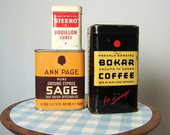 Kitchen Tins Bokar Coffee Ann Page Sage and Steero Steero 3 Vintage Containers