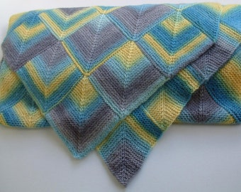 Blue-Yellow Thick Wool Wrap
