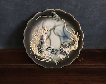Antique Japanese Ucagco Porcelain Dragonware Small Relief Plate