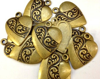 12 Swirling Leaves Hearts Charms, Vintage Gold,1328ag