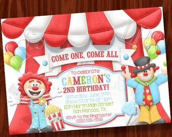 Clown Circus themed invitation