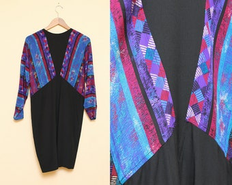 Silk Dress // Tribal Print Dress // 1980s Argenti Hipster Geometric Chevron Pattern Shift Dress Size 4 6 Small