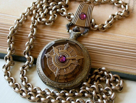 Steampunk pocket watch gothic jewelry watch pendant aloadofball Image collections
