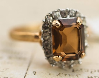 Vintage 18k Yellow Gold Plated Ring with Topaz and Clear Swarovski Crystals November Birthstone #R1059