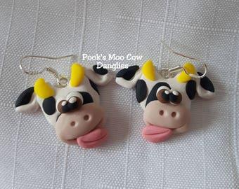 Cow Earrings, Pook's Moo Cow Danglies, Holstein Cow Earrings, Milk Cow Earrings, Spotted Cow Earrings, Pook Designz
