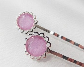 Two XO Silver Bobby Pins - Hair grips - Kirby Grips - Hair Accessories - Pink Hair grips - XO hair pins - Big hair pins