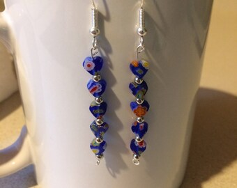 Blue heart millefiori bead earrings
