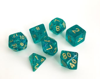 Teal glitter Dice set - Dungeons and Dragons dice - Polyhedral dice