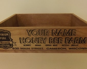 Honey Bee Farm Crate. Personalized. Vintage Style. Aged Wood
