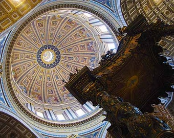 Rome Photography, St. Peter's Basilica, Italian Wall Art Decor, Vatican City, Gold Blue White Wall Art, Religious Art, Architectural Details