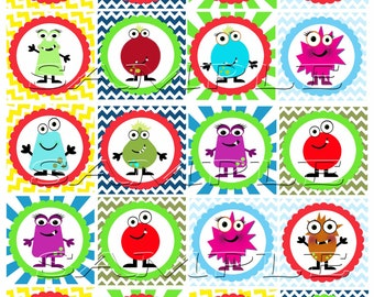 Little Monster cupcake toppers Printable DIY Personalized Set of 20 Monsters Birthday Instant Download