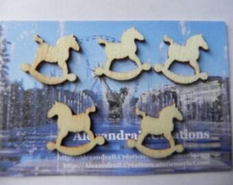 CHRISTMAS! 5 embellishments 2 cm raw wooden rocking horse