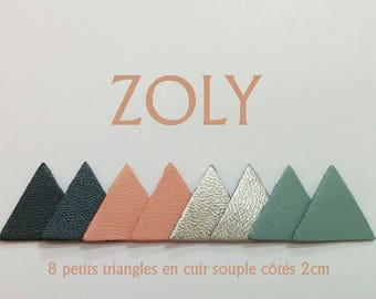 8 small Triangles of leather 4 colours 2cm side