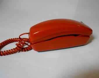 Vintage Western Electric Trimline Phone Burnt Orange- Working! Pushbutton Telephone