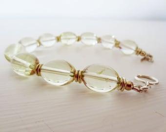 Lemon yellow quartz. Light yellow bracelet. Silver bracelet. Yellow stone bracelet. Lemon quartz bracelet. Lemon bracelet. Yellow jewelry.