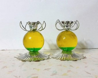 Vintage Mid Century Candle Holders Green and Yellow 1960's Lucite Candle Holders Vintage Candle Holders Mod Retro Funky Lucite
