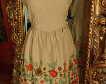 Vintage late 50's Early 60's Tan Embroidered Dress