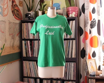 green vintage 1980s tee . Professionally Laid . really big steel gang shirt, steel workers shirt by Sportwear, men's xs /// women's small