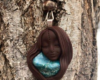 Handmade Clay Chrysocolla Goddess Pendant