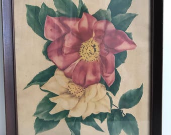 """Beautiful Vintage Gardenia Print / Antique Framed Floral Art / 1940's Painting of Flowers 14"""" x 18"""""""