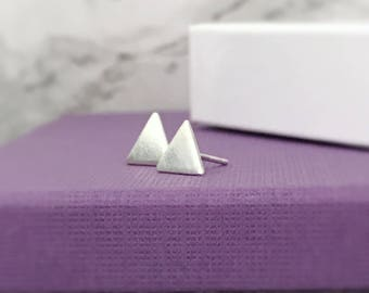 Triangle Stud Earrings | Sterling Silver Triangle Studs | Geometric Earrings | Silver Jewellery UK
