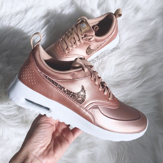 SIZE 7 Nike Air Max Thea SE Made with SWAROVSKI® Crystals- Metallic Rose  Gold/White