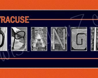 Syracuse Orange alphabetography photo collage print
