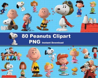 INSTANT DL- 80x Peanuts movie snoopy clipart png - printable Digital Clipart Graphic Instant Download