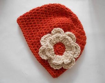 baby girl, baby wool bonnet Hat handmade