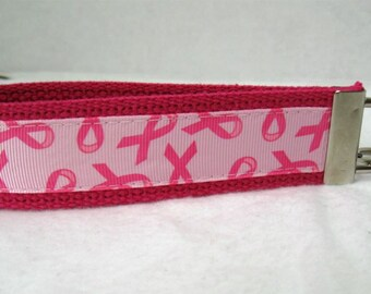 Breast Cancer Keychain PINK Key Chain Wristlet Key Fob
