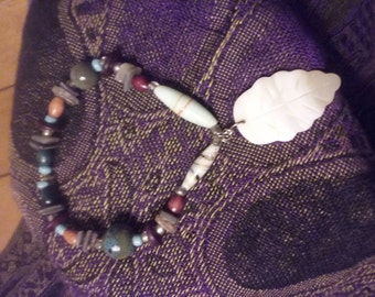 mother of pearl leaf bracelet , one of a kind , boho style , original jewelry