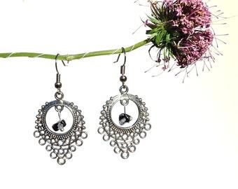 Handmade jewelry, gemstone earrings, snowflake obsidian jewelry, birthstone earrings, handmade earring obsidian earring gemstone jewelry syn