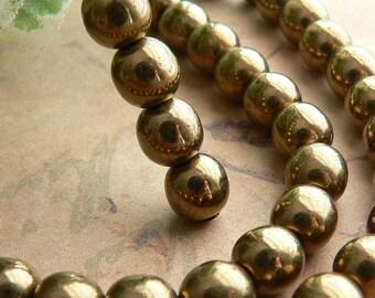 Light Bronze Czech Glass Beads Round Druk Metallic Antique Brown 6mm (30)