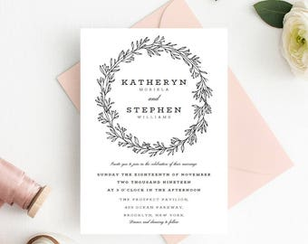 Floral Wreath Wedding Invitation Template Download, Printable Editable Wedding Invitation Template, Wedding Invitation PDF Instant Download.