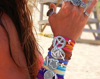 Pretty Fall Jewelry, Fall Silk Wrap Bracelet, Fall Sterling Silver Wrap Bracelets, Fall Bracelet, Pretty Fall Fashion Jewelry