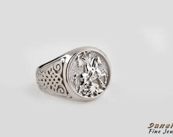 Man Silver Ring, Signet Ring, Sovereign Ring, Man Pinky Ring, Saint George Ring, Medieval Man Ring, Dragon Ring, Husband Gift, Mens Signet