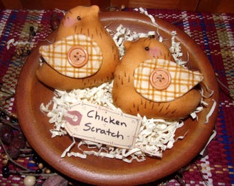Primitive Whimsical Country Spring Barnyard Golden CHICKS Tucks Bowl Fillers Ornaments Ornies (PYC-005)