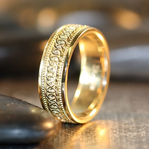 Infinity Celtic Knot Wedding Band 14k Yellow Gold Unique Mens
