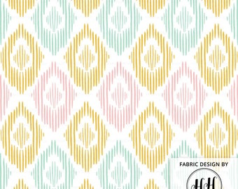 Indie Ikat Fabric by the Yard / Decor Fabric/ Ikkat Style Fabric/ Quilting Blanket Fabric/ Modern Ikat Pattern Print in Yards & Fat Quarter