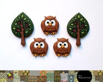 Owl & Tree Fridge Magnet Set